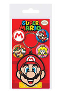 SUPER MARIO Official Pin Backed Badge Pack with Mario Key Ring. Free Postage