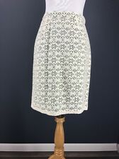 ANTHROPOLOGIE Skirt 4 Ivory EDME & ESYLLTE Aine Lace Overlay Green Liner New