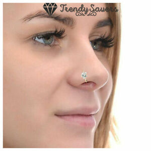 Small Thin Flower Clear Crystal Nose Ring Stud Hoop Solid 925 Sterling Silver