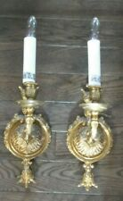 Pair Brass Finished Cast Metal Single Light Wall Sconces
