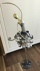 """UNUSUAL METAL BALLERINA WITH A BLACK , SILVER AND GOLD FINISH 20"""" TALL"""