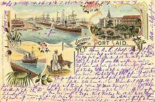 Ägypten, Port Said, Farb-Litho, aus Port Said nach Neukirchen Vluyn, 1897