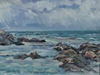 Ken Faulks Original Impressionist Oil Painting Ocean Surf Canadian Listed Artist