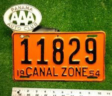 CANAL ZONE - 1954 passenger license plate - beautiful cond with RARE AAA topper