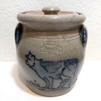 Vintage 1989 ROWE POTTERY WORKS Salt Glazed Cow Cookie Jar RPW Wisconsin Crock