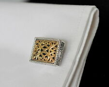 Konstantino $1160 Rectangular Cufflinks 18K Gold Sterling Classic New SALE