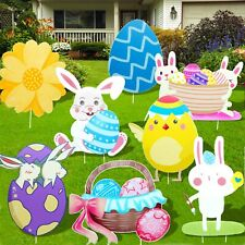8Pc Easter Outdoor Decorations Yard Stakes Signs Decal.
