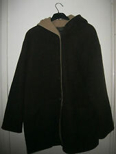 LADIES WOOL / POLYAMIDE CHOCOLATE BROWN / COFFEE FULLY LINED COAT. SIZE 14.