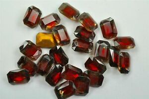 Ruby & Gray West German Glass 2 Tone Vintage Octagon Stones, 8 pieces -A0560