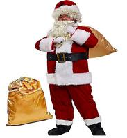 Men'S Deluxe Santa Suit 10Pc. Christmas Ultra Velvet Adult Santa Claus Costume