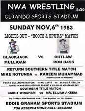 "BLACKJACK MULLIGAN vs RON BASS - Boots & Spurs   11""X14"" POSTER - ORLANDO 1983"
