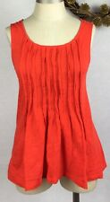 Deletta Womens Top Cotton Tank Pintucked Front Scoop Neck Swing Solid Small Cute