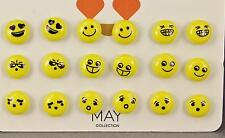emoji earrings 9 pair set pack post stud earrings metal backs yellow smiley face