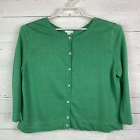 J.Jill Womens Sweater Cardigan Medium 3/4 Sleeve Green Button Front Linen Blend