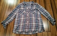 Women's Soft Joie button front rayon pink/salmon blue white check shirt v-neck M
