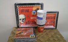 Amscan Halloween Party plates+napkins+tablecover+cups 91pc.Orange+Black+Monsters