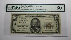 $50 1929 Van Wert Ohio OH National Currency Bank Note Bill Ch. #422 VF30 PMG
