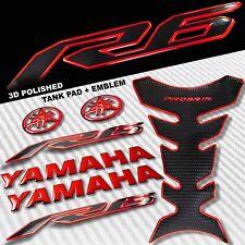 "2-TONE CHROMED RED PRO GRIP FUEL TANK PAD+8"" YAMAHA LOGO+YZF-R6 EMBLEM STICKER"