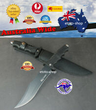 Hunting Knife RAZOR SHARP Bowie Black Military Survival SS Steel SYDNEY STOCK