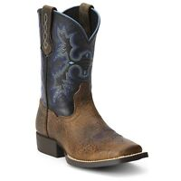 ARIAT Kids Boys Tombstone Square Toe Cowboy Leather Boots 10012794 NIB Size
