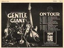 Gentle Giant Glass House UK Tour advert 1974