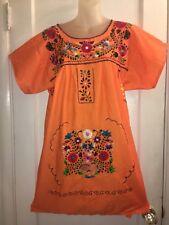 Vtg  Orange Hippy Boho Mexican   floral embroidered Mini Tunic  DRESS  M
