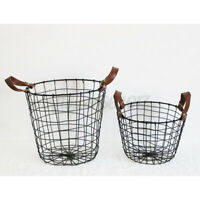 Black Metal Wire Basket Waste Paper Bin Kitchen Bedroom Bathroom Storage Home AU