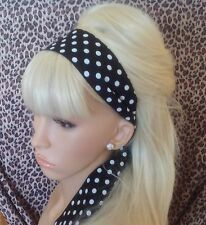 BLACK WHITE POLKA DOT SPOT HEAD HAIR BAND SELF TIE BOW VINTAGE 50'S 60'S STYLE