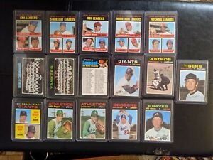 1971 TOPPS BASEBALL LOT OF 16 Tom Seaver, Johnny Bench, Team Cards & Pitchers