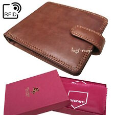 Mens Wallet Soft Real Leather Oak Brown Visconti New in Gift Box Quality DRW30