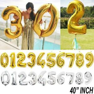 Giant Foil Number Helium balloon Gold Silver 40 inch Birthday party number