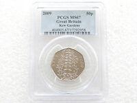 2009 British Kew Gardens 250th Anniversary Pagoda 50p Fifty Pence Coin PCGS MS67