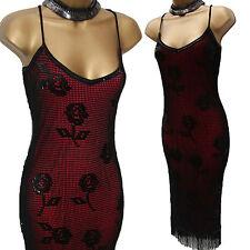 KAREN MILLEN Black Red Gatsby Beaded Crochet Cocktail Flapper Dress KM-1 UK-8