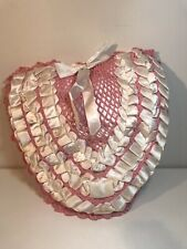 Vintage Satin Heart pillow w/ ribbon crochet front decorative pink white shabby