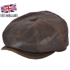MENS LEATHER NEWSBOY CAP 8 PANEL FLAT CAP GATSBY BAKER BOY CABBIE HAT UK SELLER