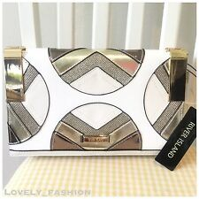 River Island White And Gold Hing Panel Clutch bag 698589 £26 Party Wedding
