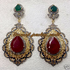 Artdeco Estate 3.65cts Pave Rose Cut Diamond Ruby Emerald Silver Earring Jewelry