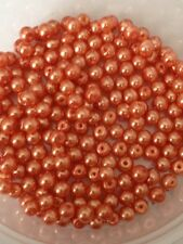 4mm Glass faux Pearls strand - Coral (200+ beads) jewellery making