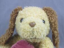 BROWN 2 TONE SITTING DOWN PUPPY DOG HOLDING HEART ROSES POCKET PLUSH VALENTINE