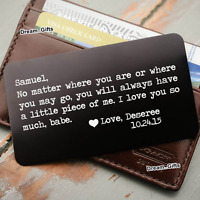 Engraved Wallet Card Personalised Gifts for Him Men Boyfriend Husband Her BF W5