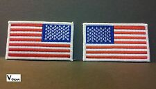 US USA American Flag patch LOT of 2 LEFT & RIGHT WHITE BORDER