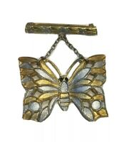 Vintage Etched Silver Tone And Gold Tone Hanging Butterfly Brooch Pin With Bar
