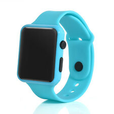 Silicone LED Kid Boy Girl Sport Watch Touch Digital Bracelet Wrist Watches Light Blue