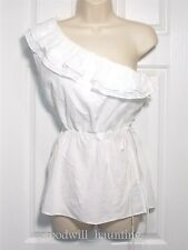 Banana Republic Women's Small One-Shoulder Blouse White Drawstring NEW
