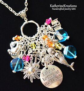 """MERMAID """"Life is Better at the Beach"""" CHARM NECKLACE 3.5"""" Pendant 30"""" Chain"""