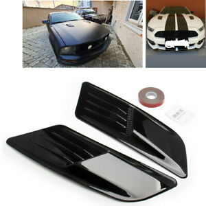2PCS Black Hood Scoop Intake Vent For Racing Car Universal Hoods Vents Cover