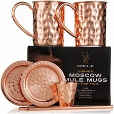 Moscow Mule Copper Mugs:Set of Two-Includes 2 x 18oz Mugs,2 x Coasters,2 xStraws