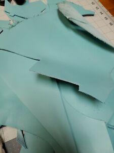 Latigo Leather Scrap pieces remnants in Aqua  pastel turquoise 5oz