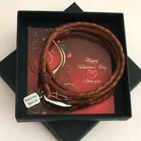 Personalised Valentines Day Gift for Man, Engraved Leather Bracelet in Gift Box.