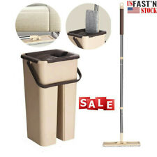 Self Cleaning Drying Wringing Mop Bucket System Flat Floor Free Hand Wash US